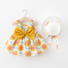 2020 Baby's Clothing Baby Girls Clothes Summer Party Clothing for Girls Dress Cherry Dot Princess Dresses Bow Hat Outfit girls bow detail cherry print dip hem dress