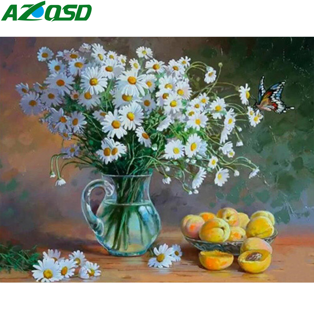 AZQSD Adults Oil Painting By Numbers Unframe Floral Acrylic Paint Picture Handpainted Gift Coloring By Numbers Vase Decoration