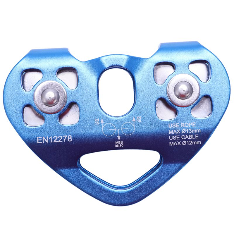 Heart-Shape Climbing Double Pulley Steel Cable Rope 13mm Climbing Device High Speed Zipline Trolley 24KN