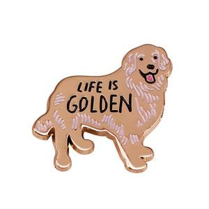 Золотой ретривер жизнь Золотая собака эмаль брошь булавки значок отворот булавки сплав металл модные ювелирные изделия аксессуары Подарки