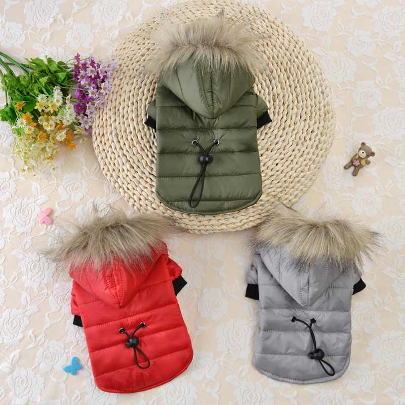 Winter Warm Dog Clothes Soft Fur Hood Cothing For Small Medium Cat Dogs Pet Dog Coat Jacket For Chihuahua Puppy Yorkshire Outfit