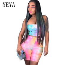 YEYA Reflective Cloth Rainbow Gradient Sexy Wrapped Chest Two Pieces Sets Short Romper Women Bandage Bodycon Jumpsuits Overalls