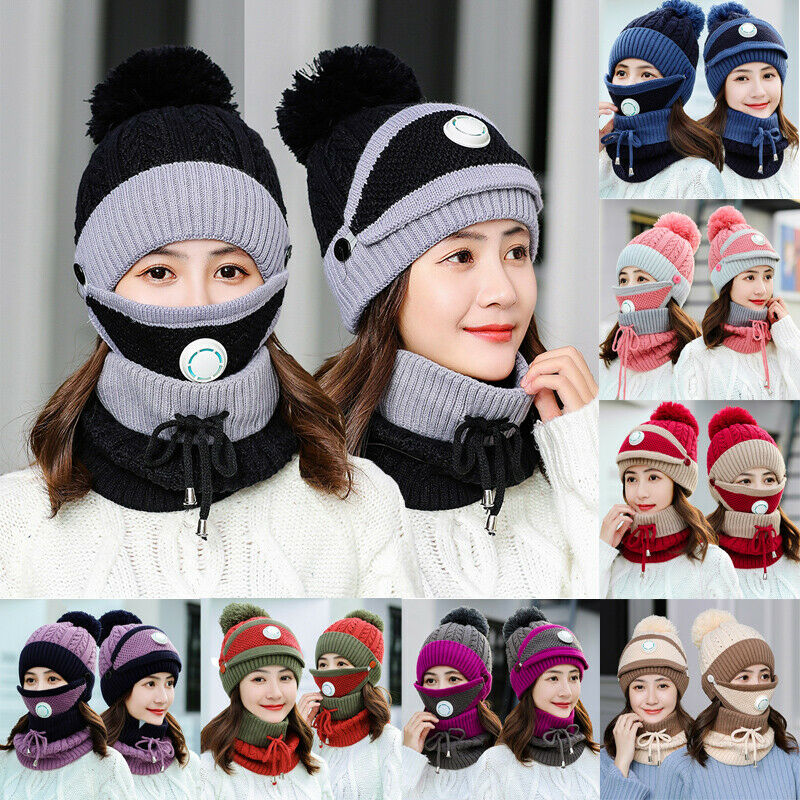 3Pcs/Set Women Scarf Winter Sets Cap Mask Collar Face Protection Girls Accessory Women Ball Scarf Plush Wool Knitted Hat