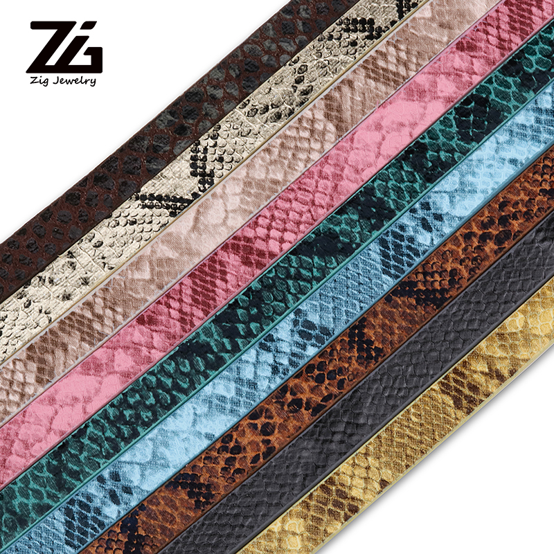 ZG PU Leather Cord Imitation Snake Skin Cords For Jewelry Making DIY Necklace Bracelet 10x2mm; About 1.2m/strand