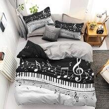 Juego de ropa de cama con estampado en 3D, con tacos de nota musical, ropa de cama de 2/3 piezas, funda de edredón en blanco y negro
