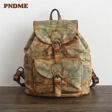 PNDME retro handmade embossed genuine leather ladies backpack designer flowers travel waterproof bagpack for women bookbags