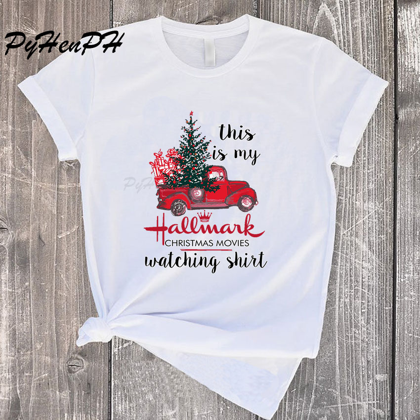This Is My Hallmark Christmas Movies Watching Tshirt Women Merry Christmas Tee Shirt Femme Short Sleeve O-neck Graphic T Shirts