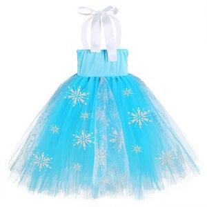 Image 4 - Meninas sequin floco de neve congelado 2 vestido crianças princesa congelado traje azul vestido de verão para crianças flor meninas vestido de festa roupas