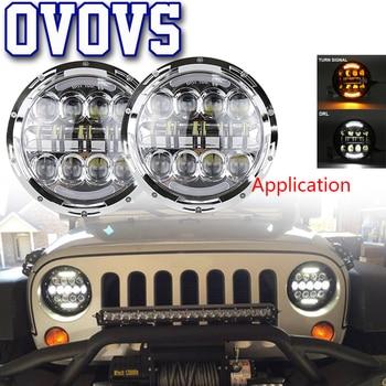 12V 24V Round 80W Led Light with White/Amber Turn Signal Lamps 7Inch Round Lights for Jeep Wrangler Hummer H1 Toyota