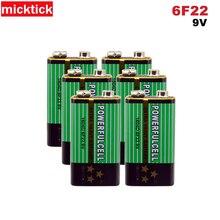 6pcs 9V 6F22 16340D סוללה 9v אלקליין סוללות Carbonfor מודד מיקרופון צעצוע מרחוק batteria בקרת KTV