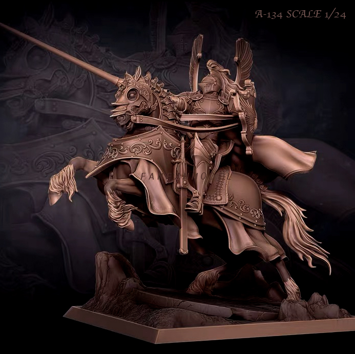 1/24 Resin Figure Kits Knight On Horse Model Self-assembled A-134