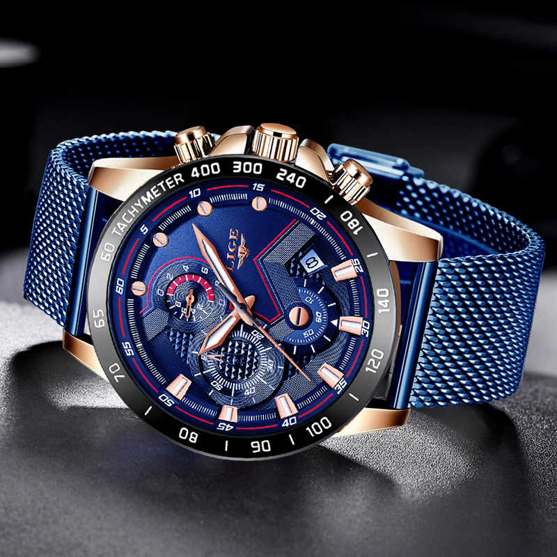 LIGE moda męskie zegarki Top marka luksusowy zegarek kwarcowy zegar niebieski zegarek mężczyźni wodoodporna Sport Chronograph Re