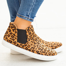 PU Leather Ankle Boots Woman Plus Size 43 Beautiful Leopard Rubber Women Elastic Band Female Boot Hot Sale