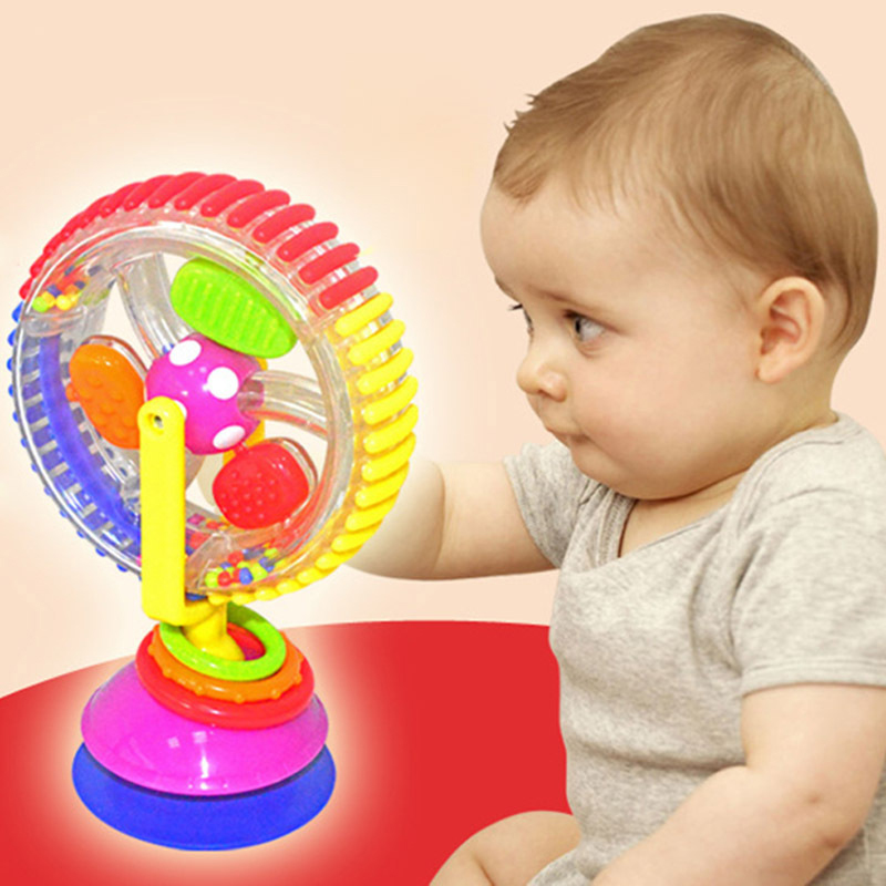 Baby Kids Infant Toy Flower Ferris Wheel Rattle Clanking Suction High Chair Toy