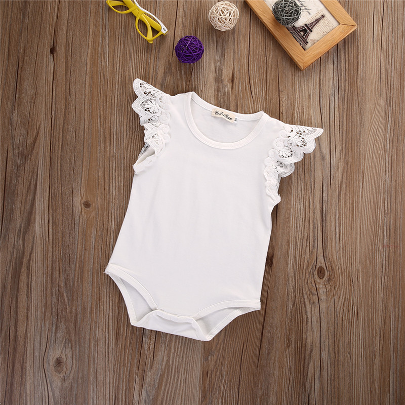 Cute Newborn Infant Baby Girls Lace Ruffles Rompers Bebe Bodysuit Kids Clothes Leopard Tops