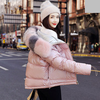 Down Jacket Women Fur Coat Fur Collar 2019 Winter Loose Short Coat White Duck Down Jacket Thick Warm Down Ladies Parka