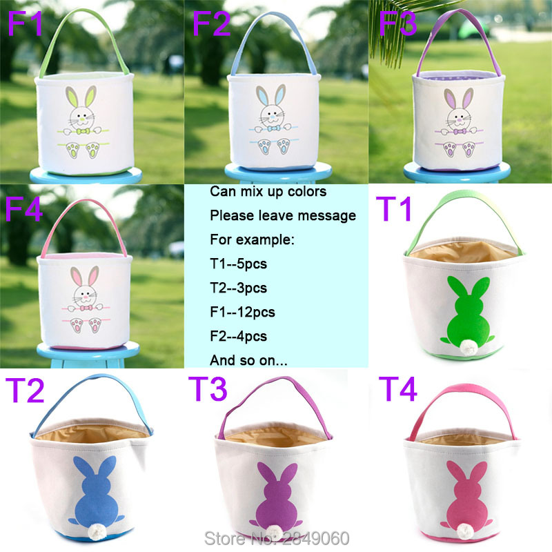 Pack of 5pcs Happy Easter Rabbit Bunny Basket Egg Gift Candy Treat Bags