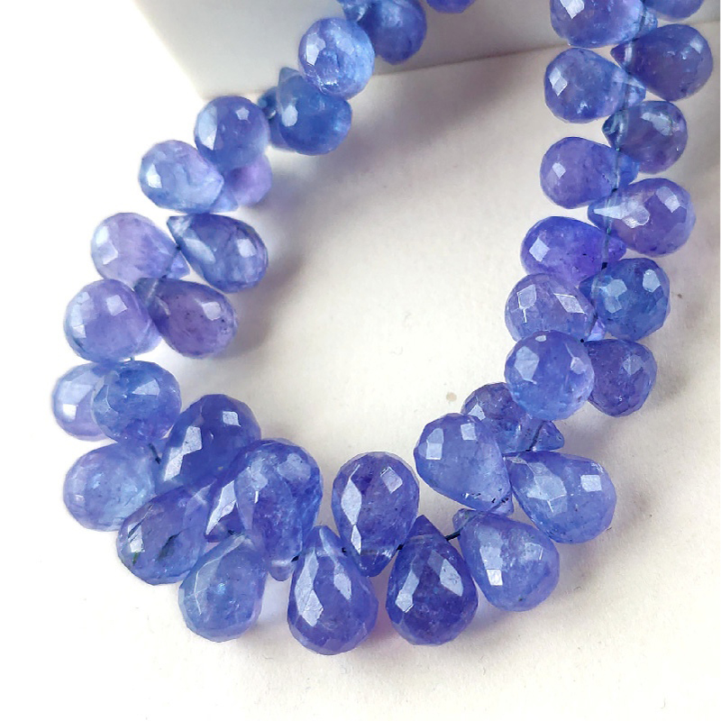 ICNWAY 5pieces Tanzanite Natural Gemstone Faceted  6mm Beads Waterdrop Shape  For  Jewelry Making Necklace Earring Bracelet