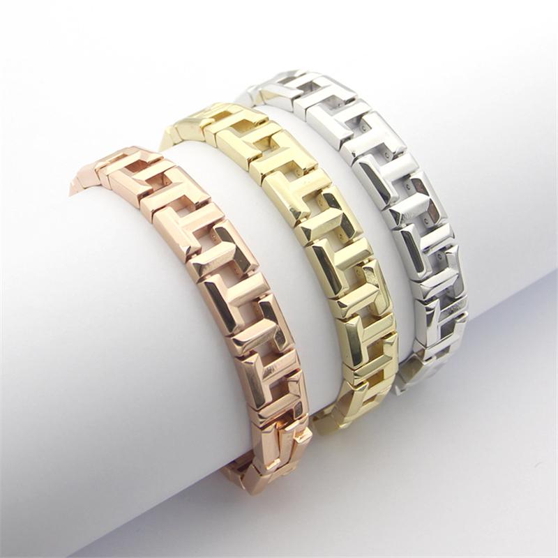 Stainless Steel 18k Yellow/Rose Gold/Silver Platinum Plated T Bracelet Women Luxury Hollow Bangle Hand Chain OL Elegant Wristlet
