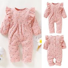 Winter Long Sleeve Baby Girl Romper Toddler Girl Rompers O-neck Cotton 0-2 Years Newborn Clothes Kids Jumpsuit Cute Pink D35 cute newborn girl romper 100% cotton baby girls rompers summer 0 24months toddler rompers lotus collar fly sleeve easter romper