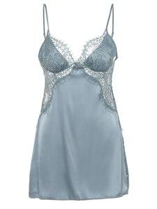Image 5 - Gợi Cảm Nữ Mùa Hè Nightshirt Đêm Đầm Váy Ngủ Lụa Satin Phối Ren Nữ Váy Ngủ Đồ Ngủ Lingeire Đêm Áo Choàng Mặc Ngủ