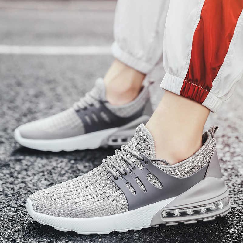 Hava yastığı örgü nefes koşu ayakkabıları ilkbahar ve sonbahar askeri yeşil yürüyüş ayakkabısı erkekler ve kadınlar için Sneakers boyutu 35-46