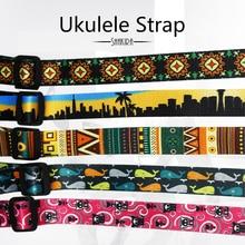 Ukulele Strap button adjustable hook shoulder Durable Printed Ribbon Clip-on Guitar Belt Musical Instrument Guitar Accessories