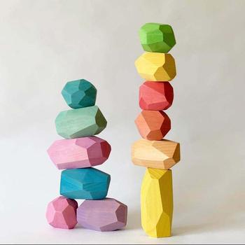 Bloques de construcción Jenga de piedra de color de madera para niños, juguete educativo creativo de estilo nórdico, juego de apilamiento, juguete con Arcoiris de regalo