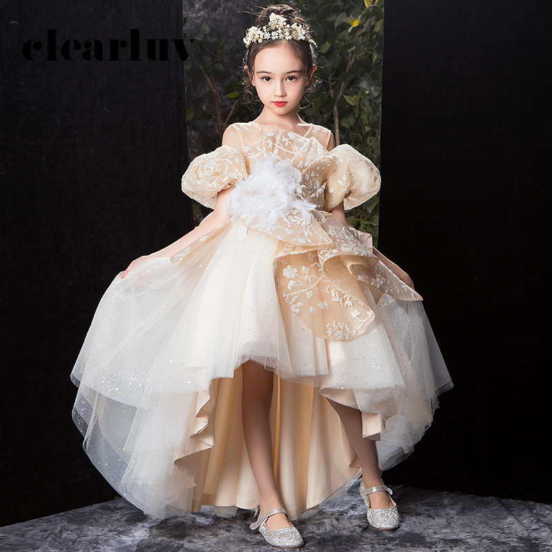 Flower Girl Dresses For Weddings B060 O-Neck Long Kids Evening Dress With Bow Champagne Sequins Feathers Girls Princess Dresses