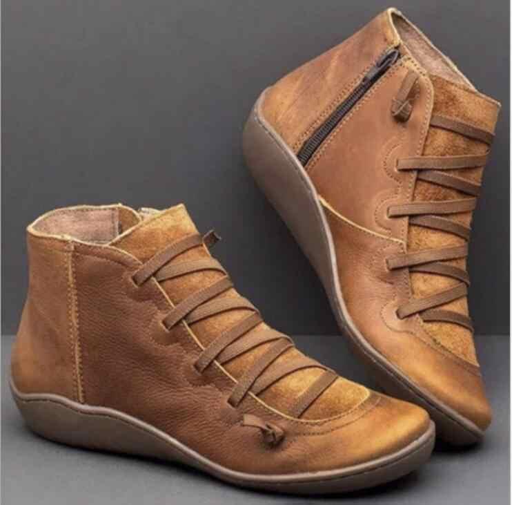Kadın kış kar botları hakiki deri ayak bileği yay düz ayakkabı kadın kısa kahverengi çizmeler kürk 2020 kadınlar için dantel up çizmeler