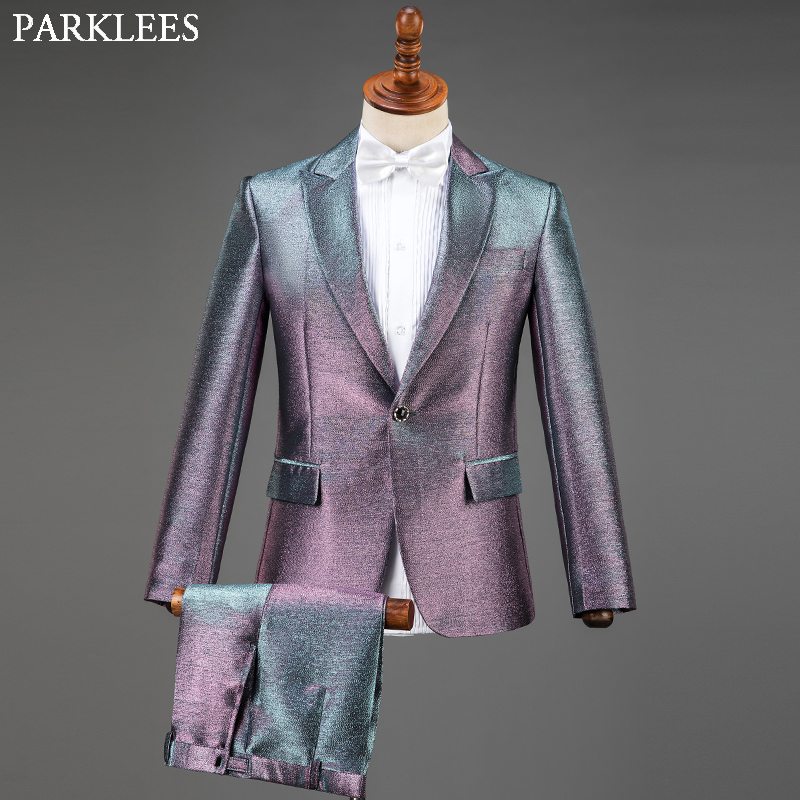 Colorful Sequin Men Suit Set With Bow Tie Suits Men 2019 Fashion Glitter Mens Suits 3 Piece Groom Suit Party Prom Stage Costume