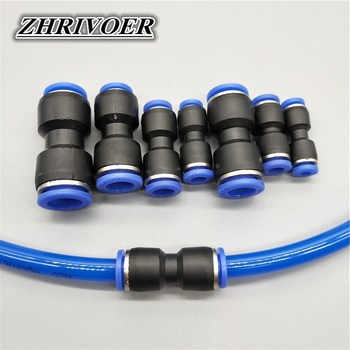 Air Pneumatic 10mm 8mm 6mm 12mm 4mm 16mm OD Hose Tube One Touch Push Into Straight Gas Fittings Plastic Quick Connectors Fitting image