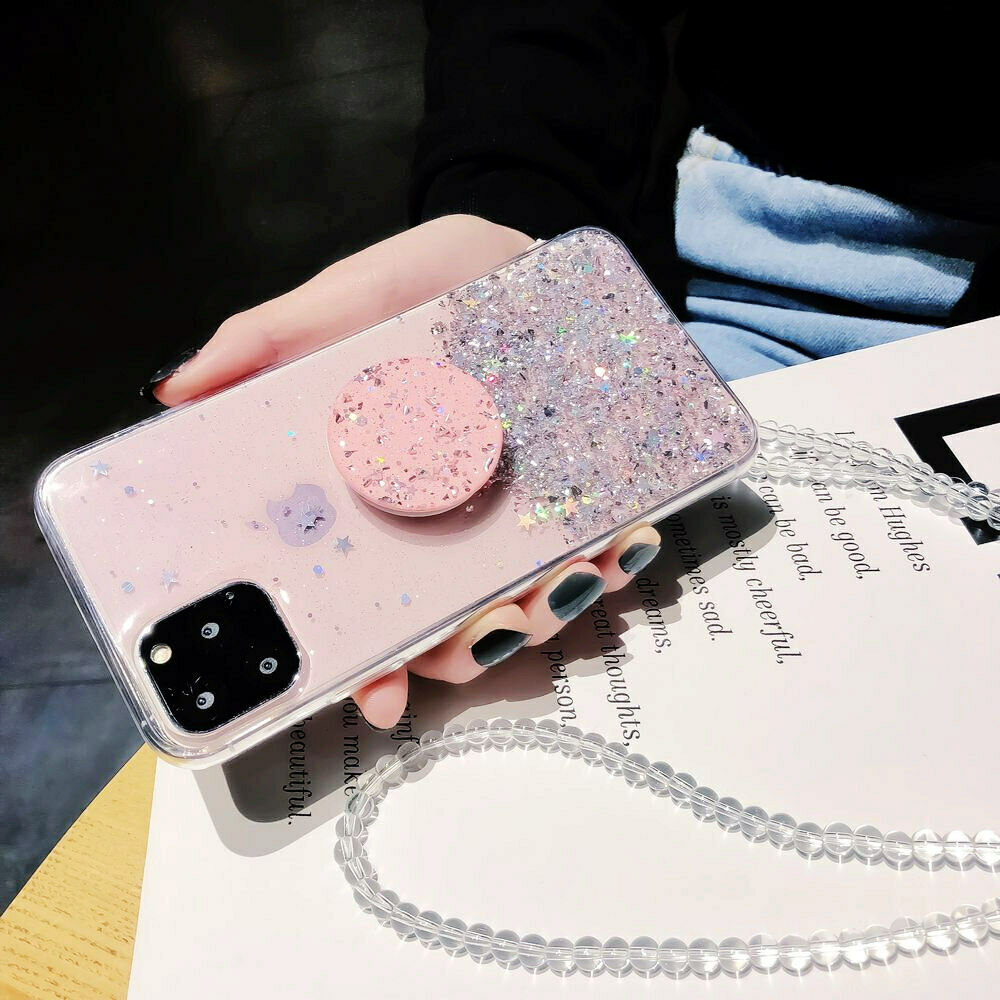 Bling Glitter Case For iPhone 11 Pro Max 11 Pro 11 XS XR X XS Max 6s 6 7 8  PlusSlim Case With Stand Holder Phone Cases Socket 4