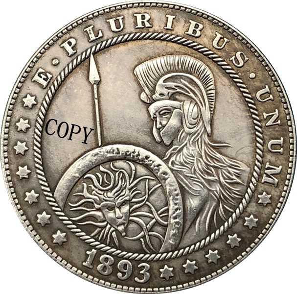 Hobo Nikkel 1893-S Vs Morgan Dollar Munt Copy Type 183