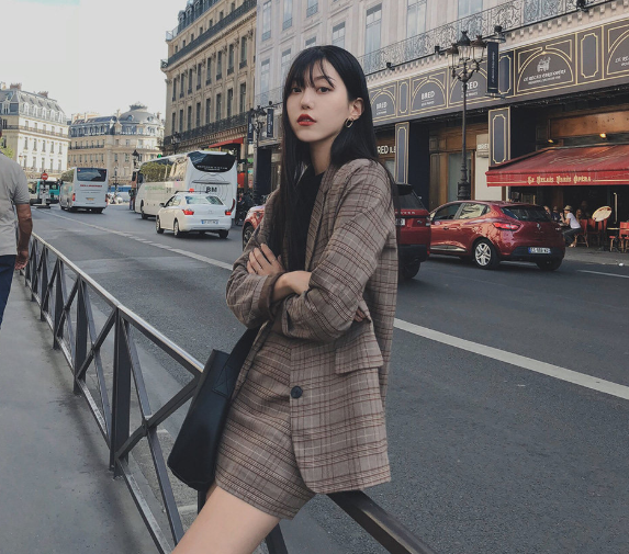 plaid skirts suits Girls Female Vintage Autumn elegant Women's Sets (Separate) women two piece outfits 2 piece outfits for women 1