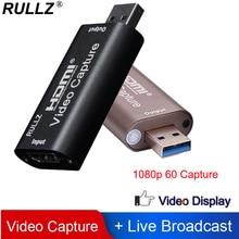 Tarjeta de captura de vídeo Rullz 4K USB 3,0 2,0 HDMI grabador de vídeo caja de registro para PS4 DVD juegos videocámara grabación en vivo