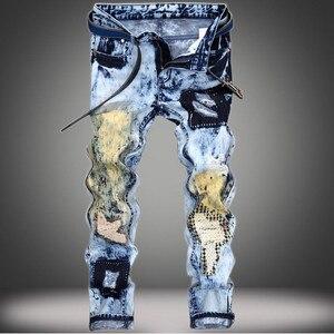 EL BARCO Vintage Cotton Denim Jeans Men Autumn Hip Hop Streetwear Ripped Holes Male Pants Soft Patchwork Funny Blue Trousers New