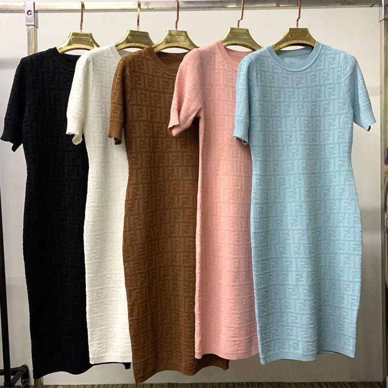 2021 Summer New Style Ice Silk Elastic Round Neck Short-sleeved Knitted Dress for Women's Self-cultivation and Hip Sexy Mid-leng