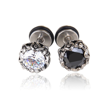 High Quality Crystal Black White Color Stud Earrings Zircon Wedding  Hypoallergenic Jewelry for Women Brincos