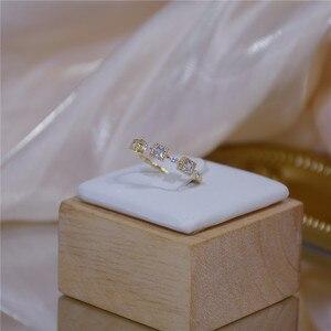 OBEAR 14k золото микро-набор Цирконий квадратное Открытое кольцо для женщин простое темпераментное ювелирное изделие аксессуары