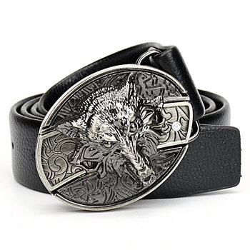 Mens Wolf buckle Belt Tiger Dragon Scorpion spider Vulture Eagle skull Undead ghost poker cross Buckle Punk rock style