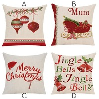 Christmas Cushions Cover Red Merry Christmas Printed Cotton Linen Decorative Pillows Case Sofa Home Throw Pillow Cover 45*45cm