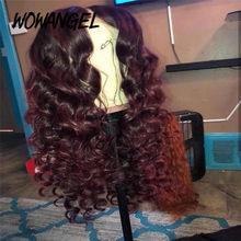 Wowangel burgundii 99J kolorowe 13*4 koronki przodu włosów ludzkich peruk Remy brazylijski 100% ludzki włos przejrzyste koronki peruka wstępnie oskubane