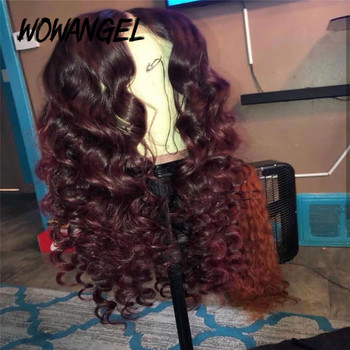 Wowangel Burgundy 99J Colored 13*6 Lace Front Human Hair Wigs Remy Brazilian 100% Human Hair Transparent Lace Wig Pre Plucked