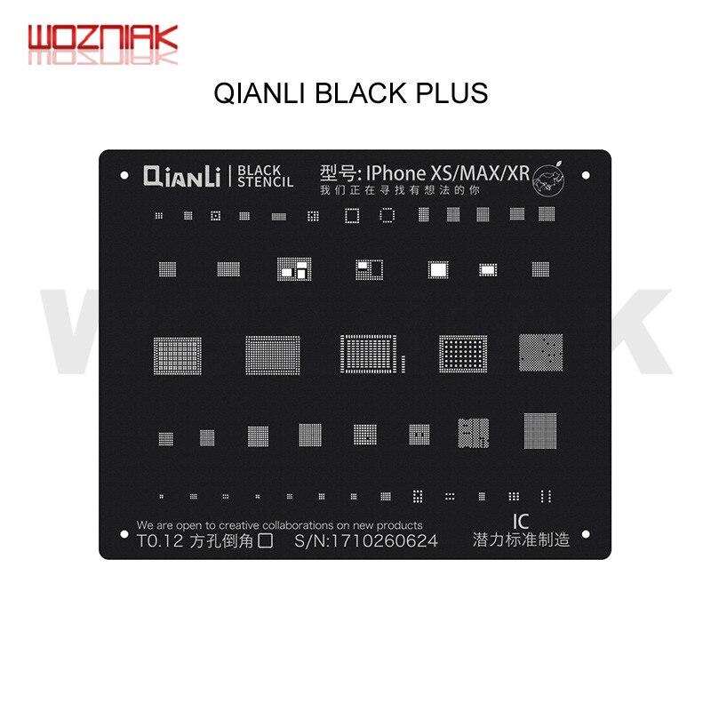 QIANLI BLACK PLUS Reballing Stencil Universal For IPHONE 6 6P 7 7P 8 8P X XS XR XSMAX A8 A9 A10 A11 A12 CPU NAND IC Steel Mesh