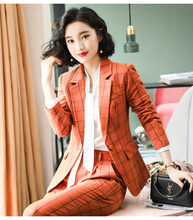 Lattice suit, feminine style, fashionable two-piece trousers, new Korean version of leisure professional suit in early autumn