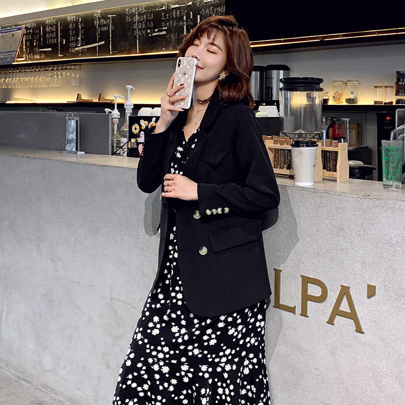 Large size M-5XL women's autumn and winter office loose jacket suit Temperament double-breasted female mid-length Blazer