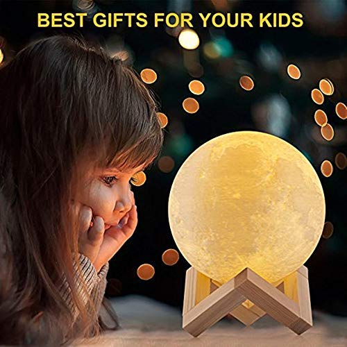 3D Print Night Light Rambery Moon Lamp Rechargeable  Color Tap Control Lamp Lights 16 Colors Change Remote LED Moon Light Gift