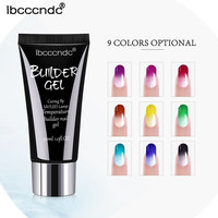 9 colors Quick Extension Glitter Temperature Color Change UV Builder Nail Art Gel Soak Off UV Gel Varnish 30g Nail Art