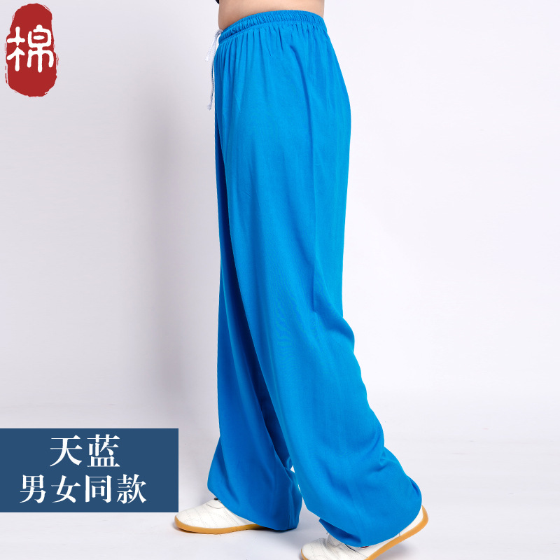 Clothing New Style Tai Chi Bourette Summer Women's Gymnastic Bloomers Morning Exercise Pants Nan Nv Ku Middle-aged Loose-Fit